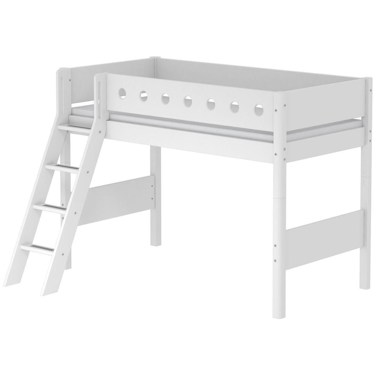 Halbhohes Bett 90x190cm + Schrägleiter WHITE Flexa weiß-weiß