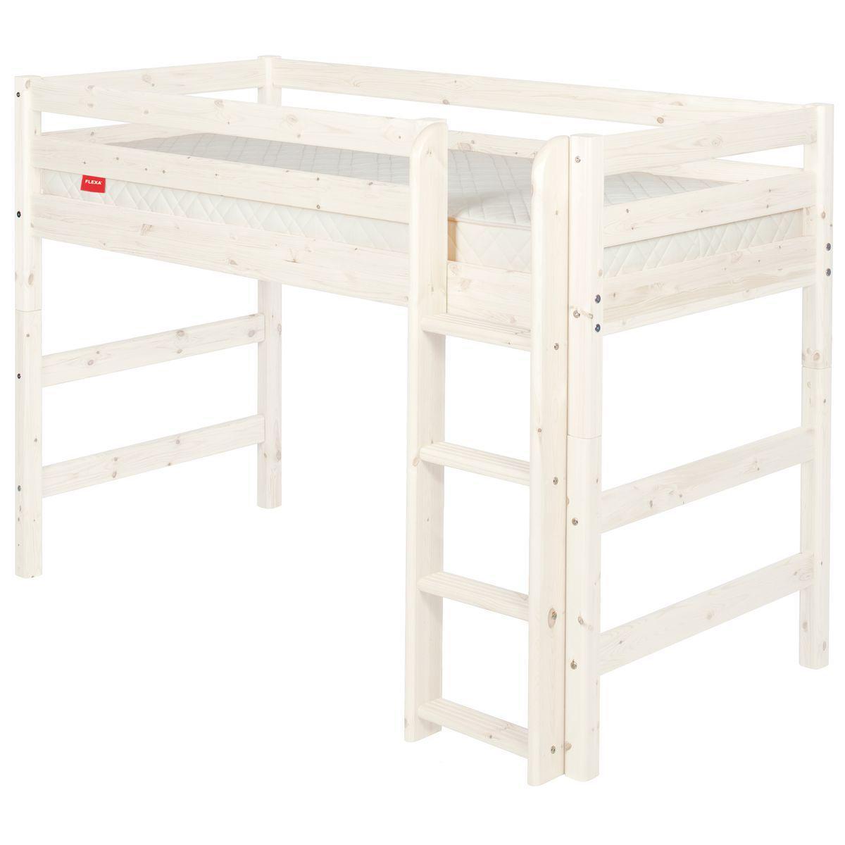Halbhohes Bett 90x200 cm + gerade Leiter CLASSIC by Flexa whitewash