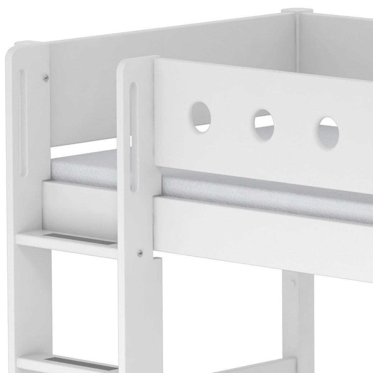 Halbhohes Bett 90x200 gerade Leiter WHITE Flexa weiß-weiß