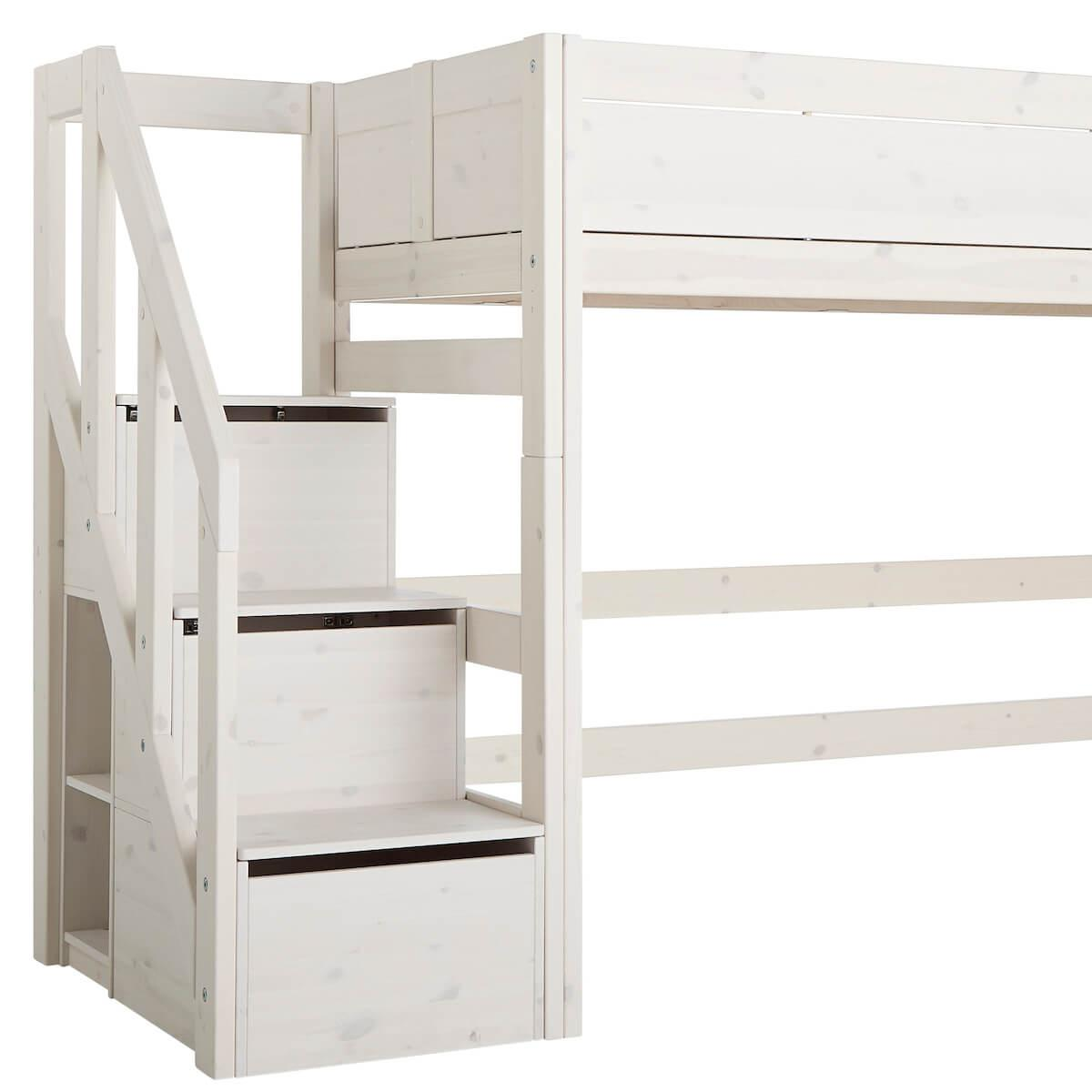 Halbhohes Bett 90x200cm escalier Lifetime white wash