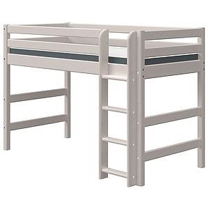 Halbhohes Bett 90x200cm gerade Leiter CLASSIC Flexa grey washed