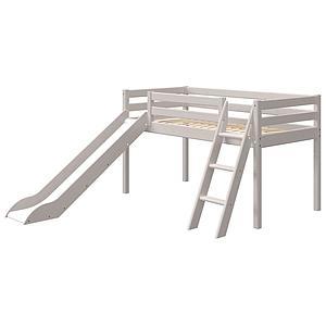 Halbhohes Bett 90x200cm Schrägleiter Rutsche CLASSIC Flexa grey washed