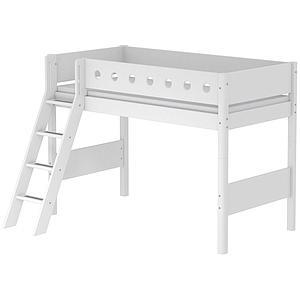 Halbhohes Bett 90x200cm + Schrägleiter WHITE Flexa weiß-weiß