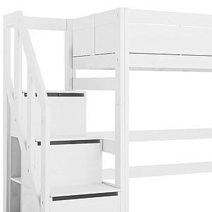 Halbhohes Bett 90x200cm Treppenmodul Lifetime Weiß