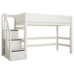 Halbhohes Bett 90x200cm Treppenmodul Lifetime white wash
