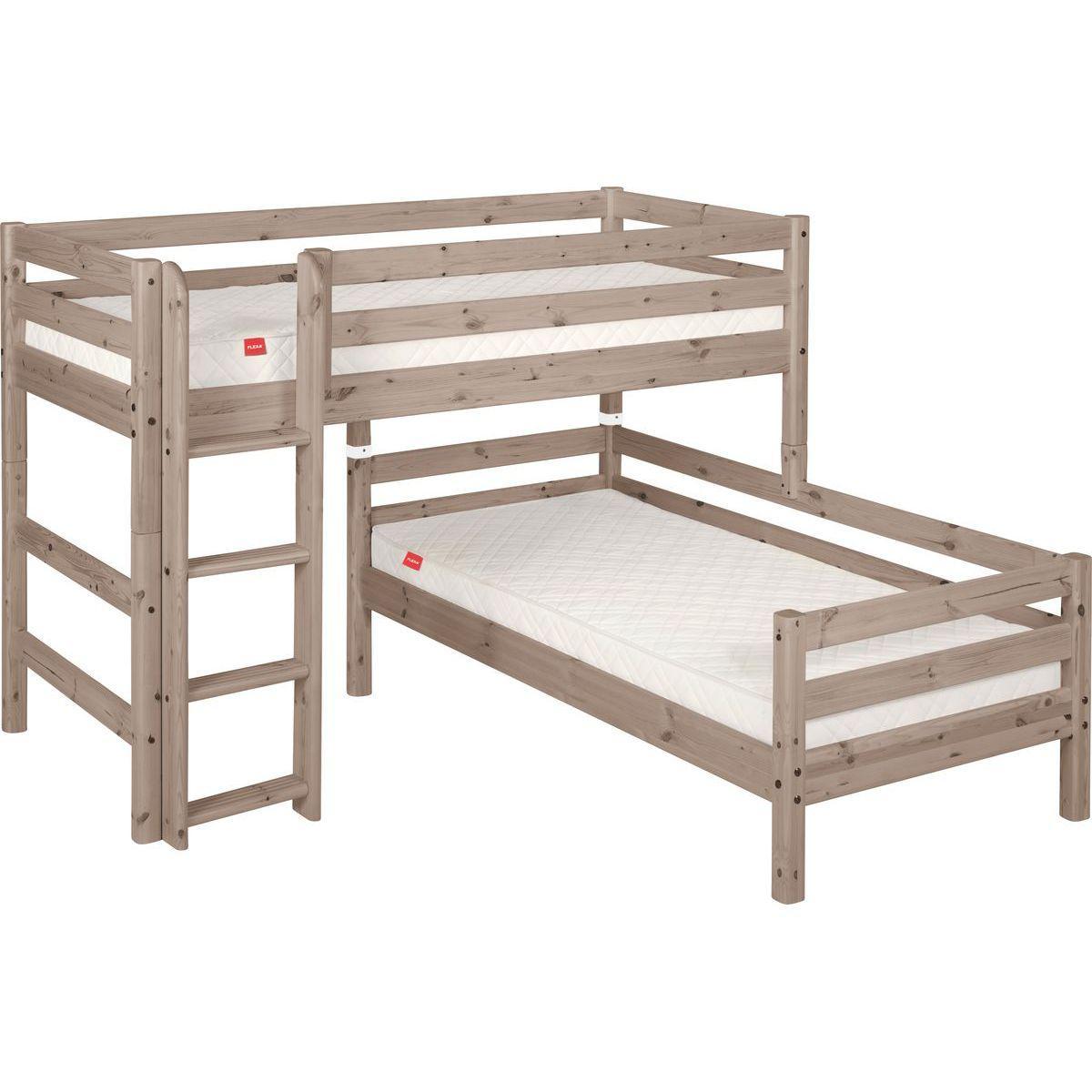 Halbhohes Bett + Einzelbett 90x200 cm + gerade Leiter CLASSIC by Flexa terra