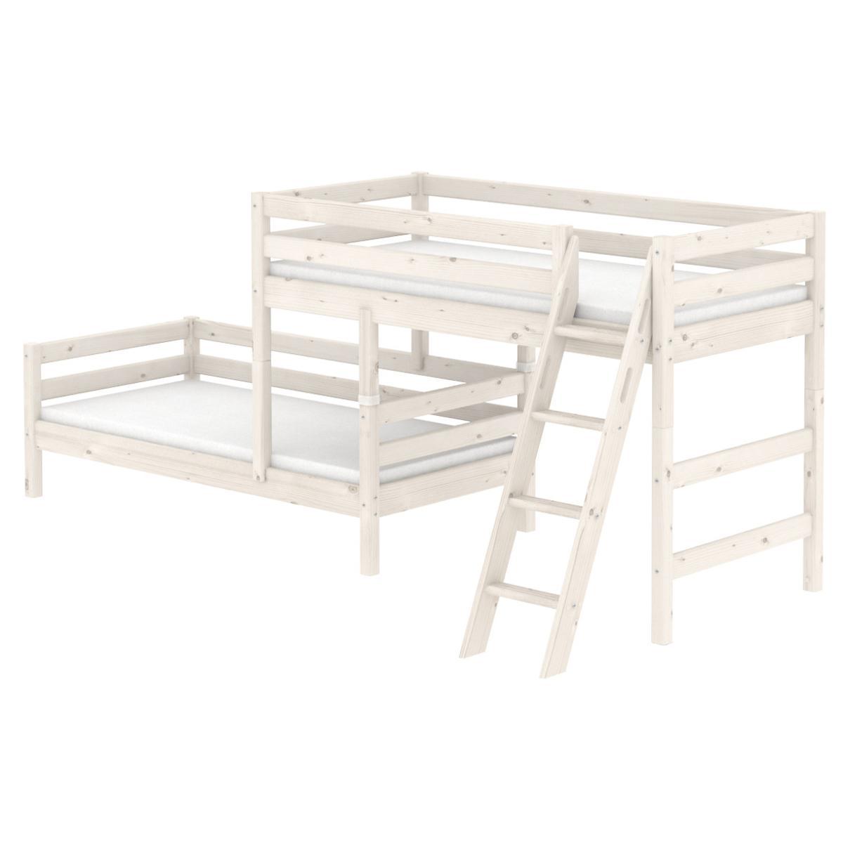 Halbhohes Bett + Einzelbett 90x200 cm + Schrägleiter by Flexa whitewash