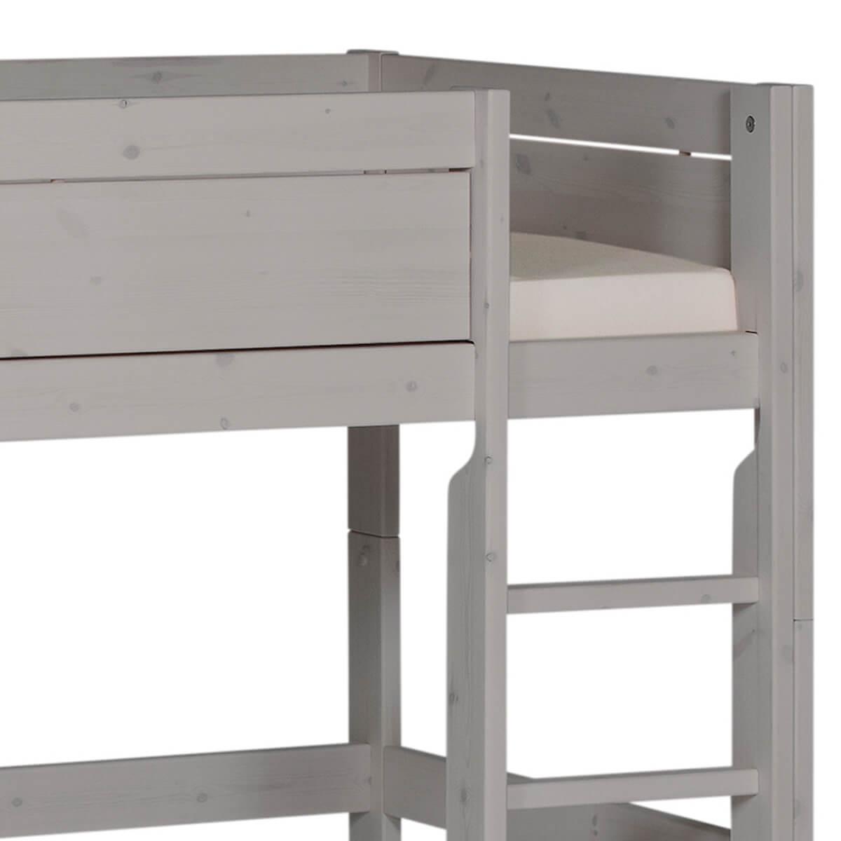 Halbhohes Bett + gerade Leiter 90x200cm Lifetime grau