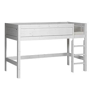 Halbhohes Bett + gerade Leiter 90x200cm Lifetime whitewash
