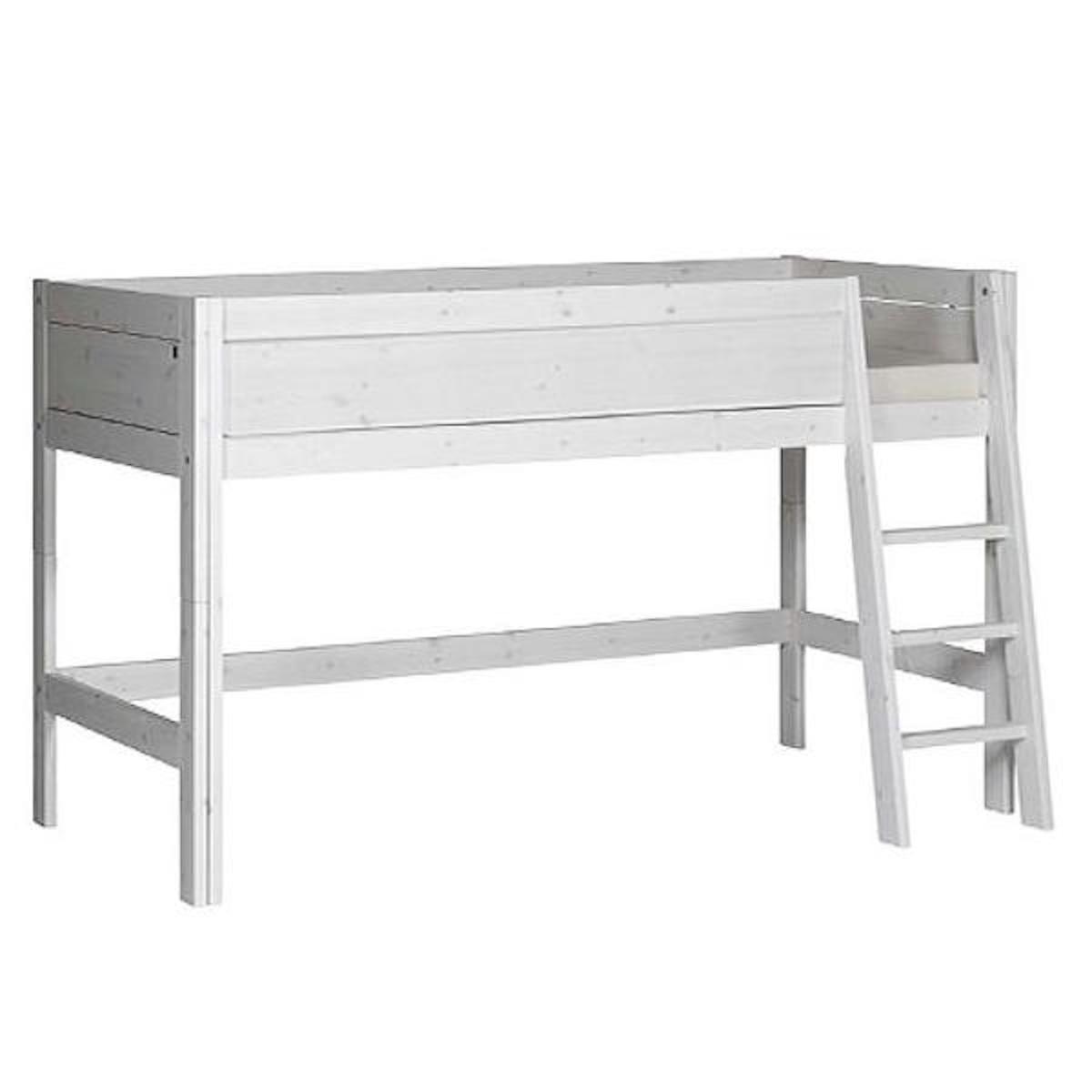 Halbhohes Bett mit Schrägleiter + Deluxe Lattenrost 90x200cmLifetime whitewash