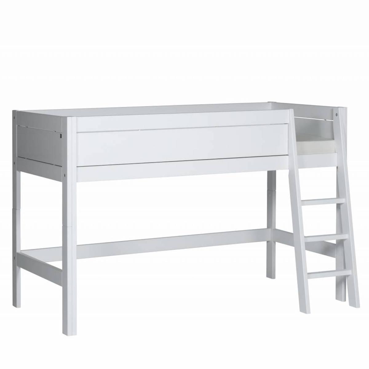 Halbhohes Bett mit Schrägleiter + Rollboden 90x200cmLifetime weiß