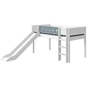 Halbhohes Bett mitwachsend 90x190cm gerade Leiter-Rutsche WHITE Flexa weiß-light blue