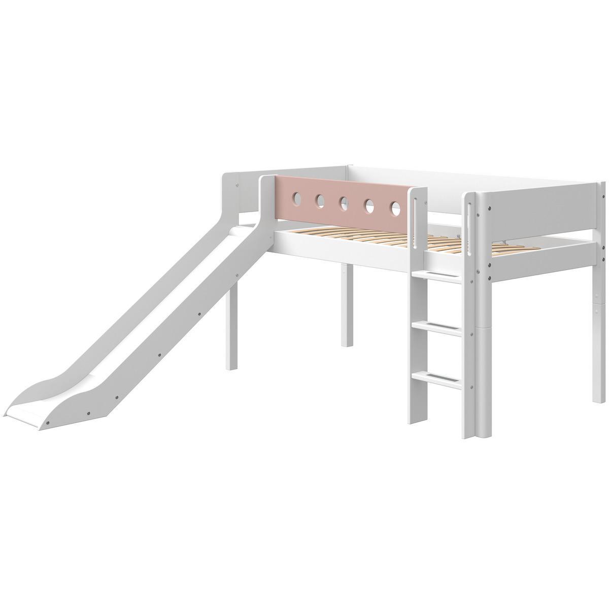 Halbhohes Bett mitwachsend 90x190cm gerade Leiter-Rutsche WHITE Flexa weiß-light rose