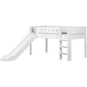 Halbhohes Bett mitwachsend 90x190cm mit gerader Leiter-Rutsche WHITE Flexa weiß-weiß