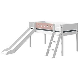 Halbhohes Bett mitwachsend 90x190cm Schrägleiter-Rutsche WHITE Flexa weiß-light rose