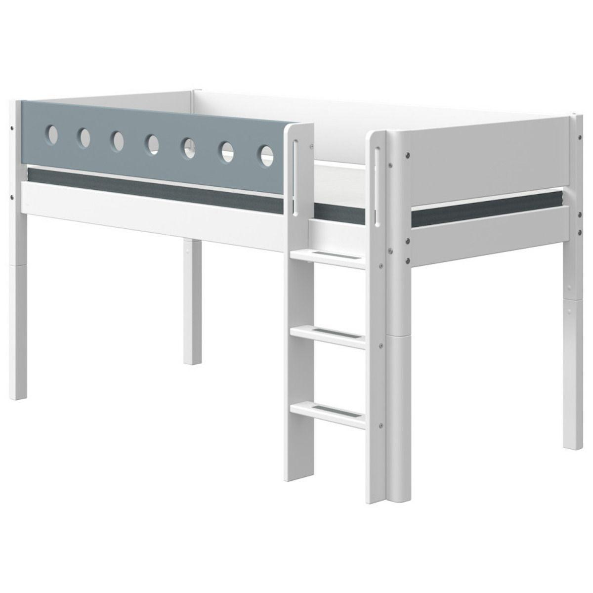 Halbhohes Bett mitwachsend 90x200cm gerade Leiter WHITE Flexa weiß-light blue