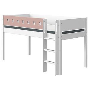 Halbhohes Bett mitwachsend 90x200cm gerade Leiter WHITE Flexa weiß-light rose