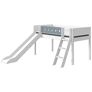 Halbhohes Bett mitwachsend 90x200cm Schrägleiter-Rutsche WHITE Flexa weiß-light blue