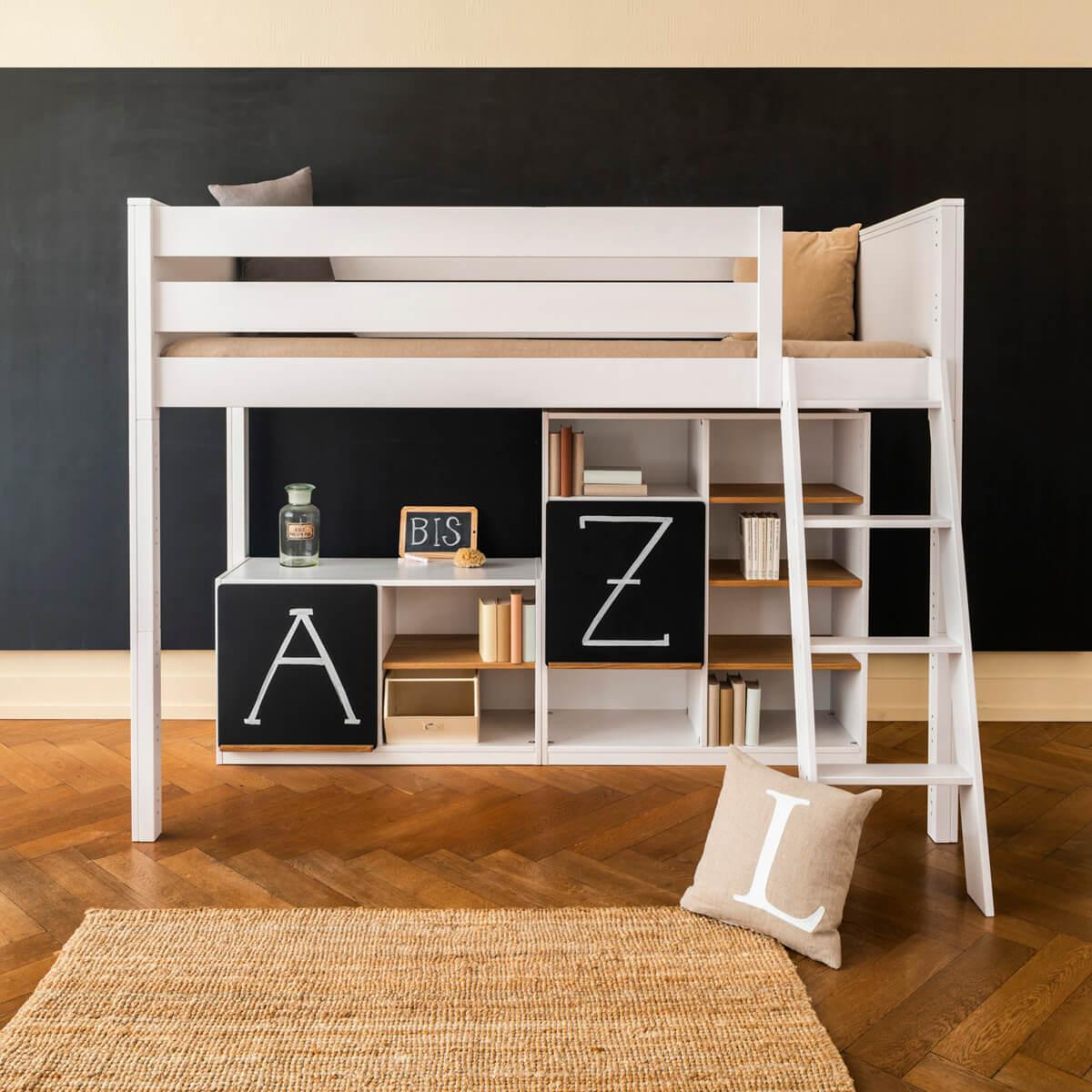 Halbhohes Bett-Regal KASVA Buche massiv weiß-lackiert