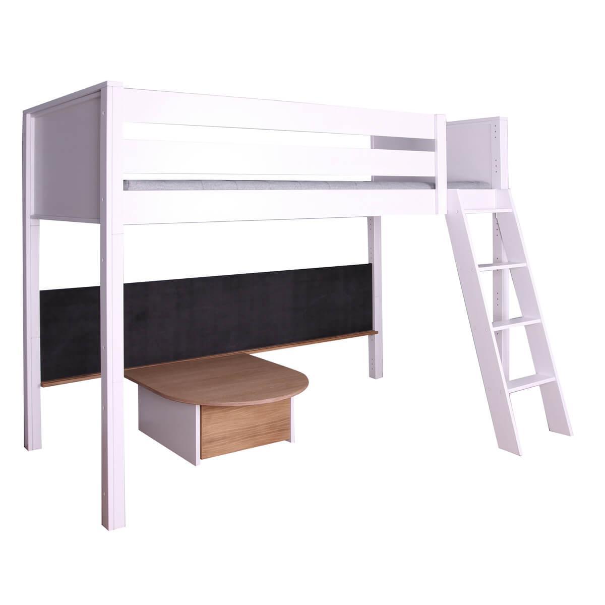 Halbhohes Bett-Tafel-Tisch  KASVA Buche massiv weiß-lackiert