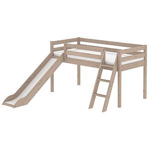Halbhohes Spielbett mit Rutsche und Schrägleiter 90x200cm CLASSIC Flexa terra
