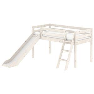 Halbhohes Spielbett mit Rutsche und Schrägleiter 90x200cm CLASSIC Flexa whitewash