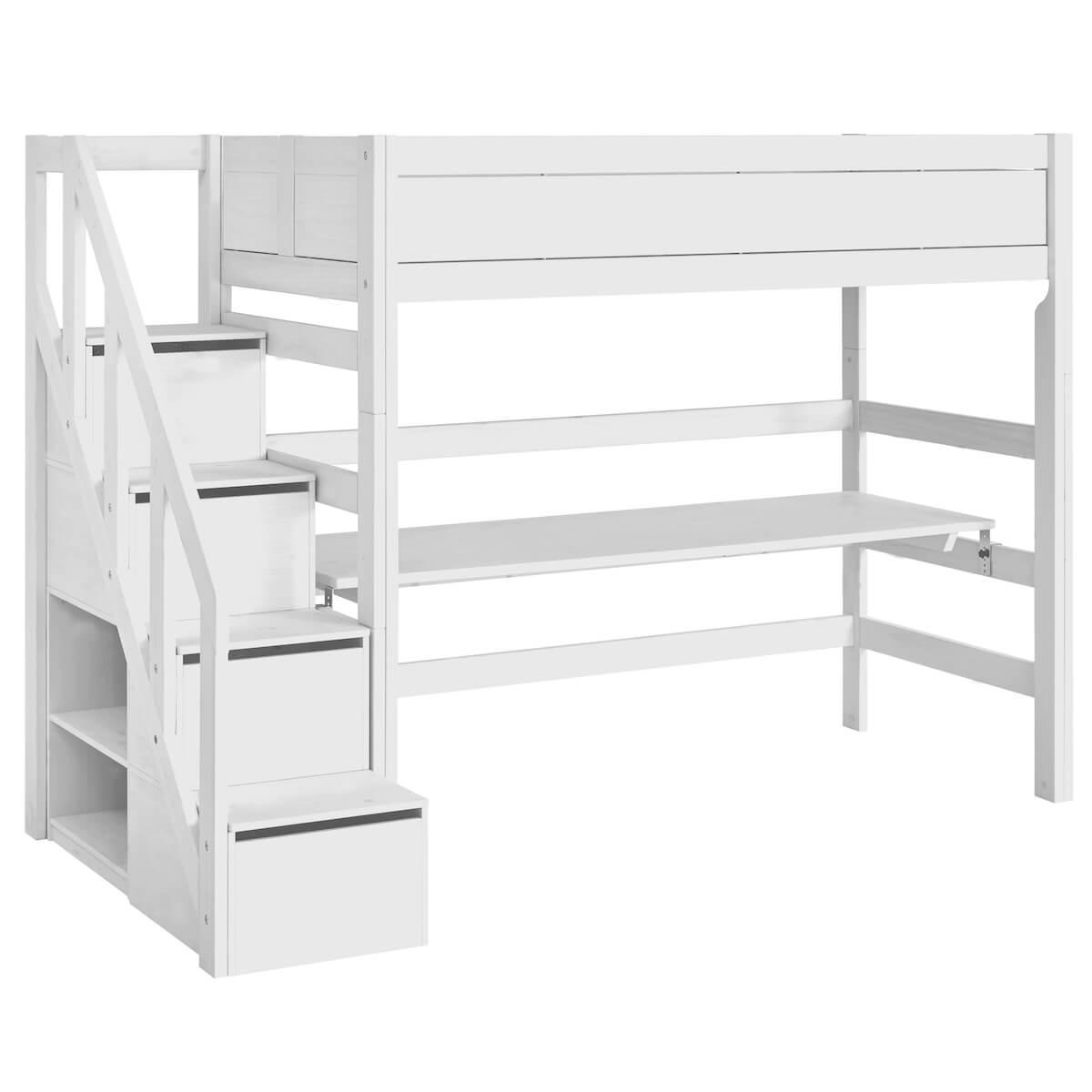 Hochbett 90x200cm Treppe Lifetime Weiß
