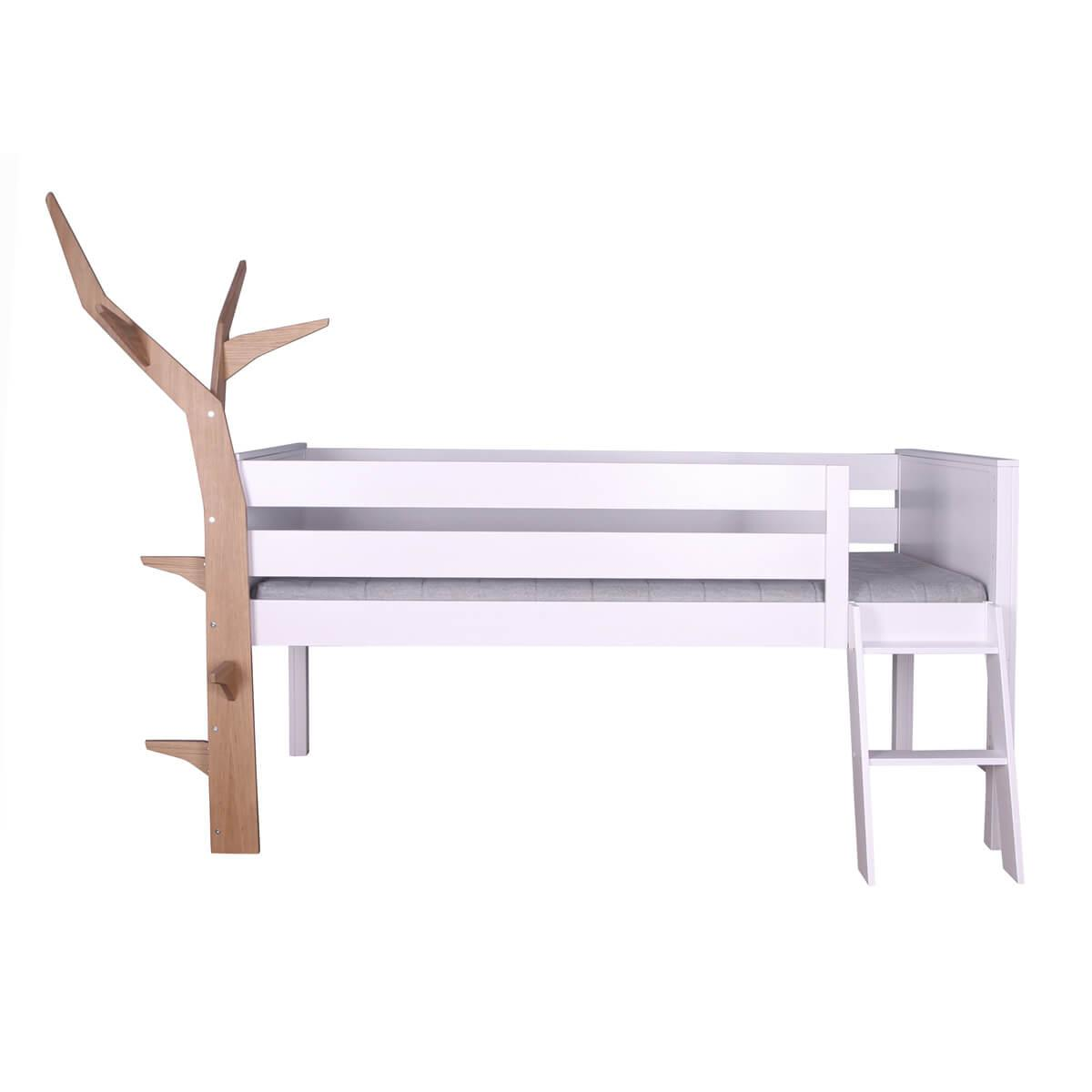 Hochbett-Baum halbhoch KASVA Buche massiv weiß-lackiert  Eiche furniert-geölt