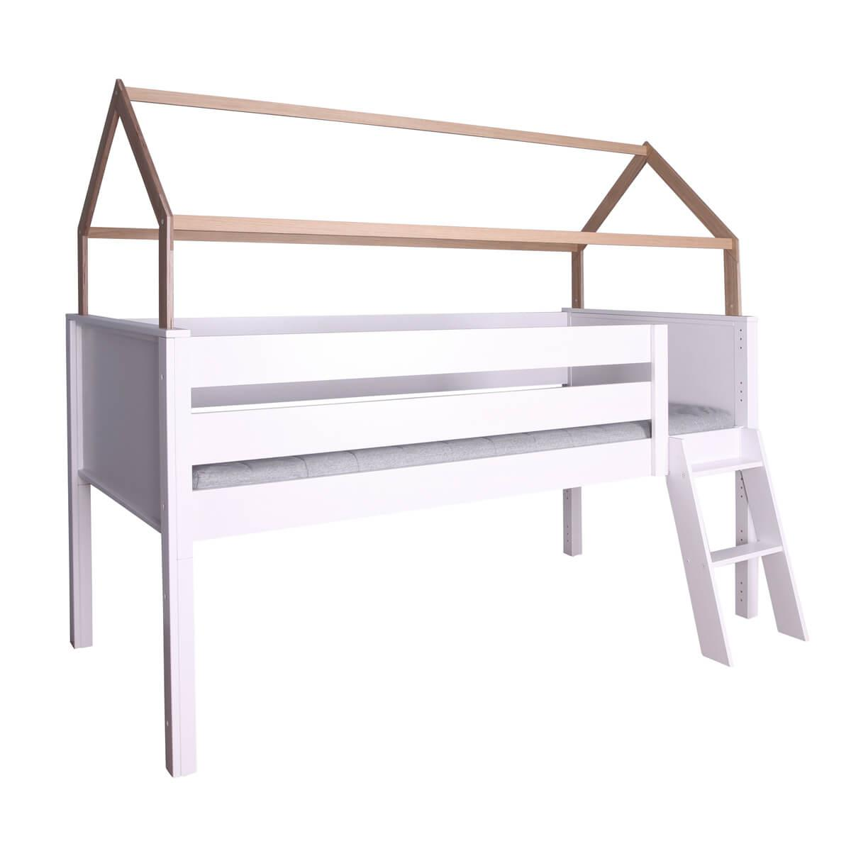 Hochbett-Dach halbhoch KASVA Buche massiv weiß-lackiert Eiche furniert-geölt