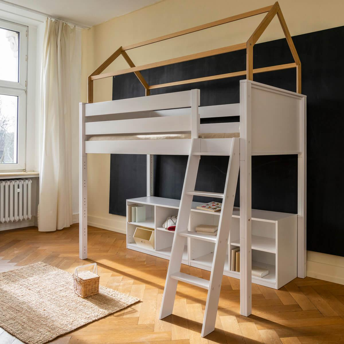 Hochbett-Dach hoch KASVA Buche massiv weiß-lackiert Eiche furniert-geölt