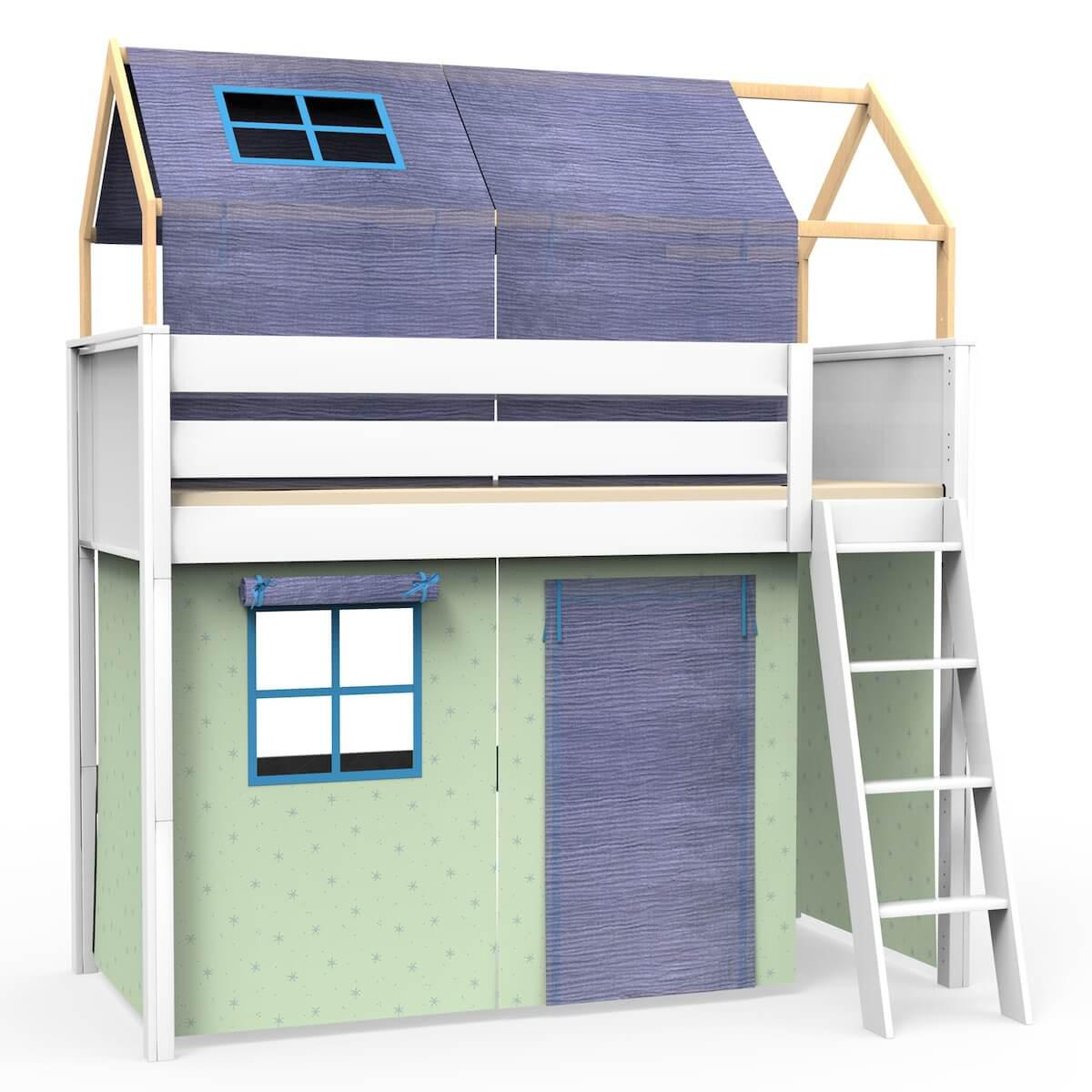 Hochbett-Dach hoch KASVA mit Textilien Bobble green-blue