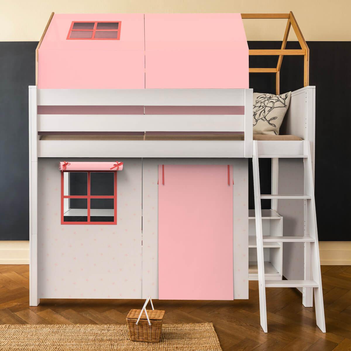 Hochbett-Dach hoch KASVA mit Textilien Viena pink