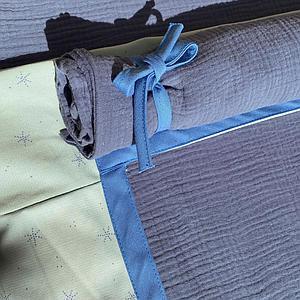Hochbett KASVA mit Textilien Bobble green and blue