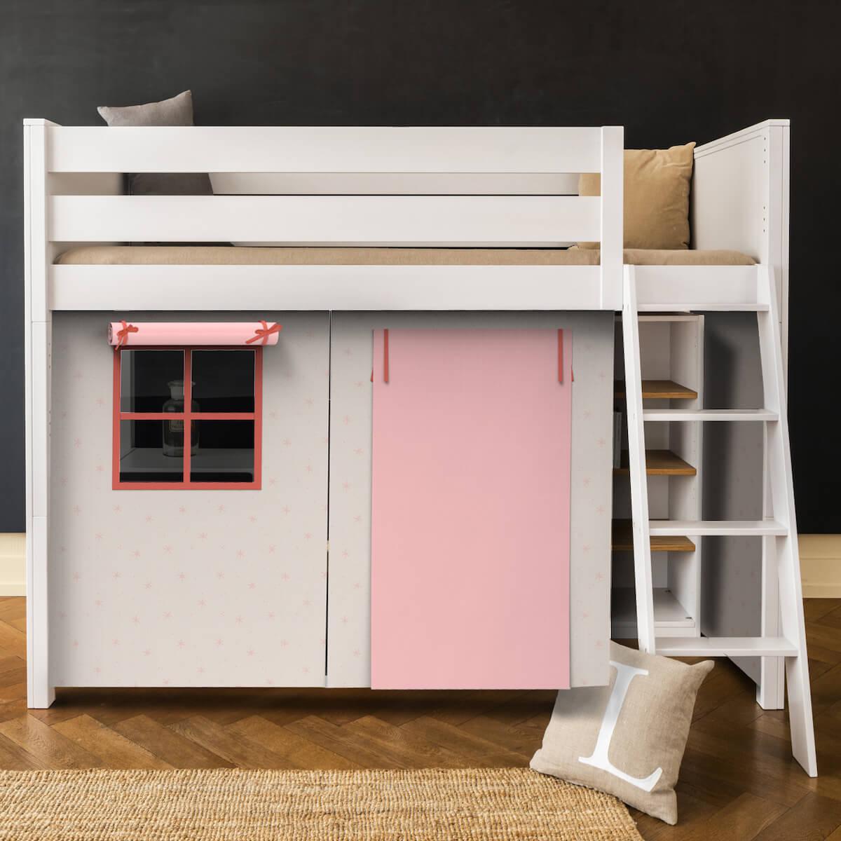 Hochbett KASVA mit Textilien Viena pink