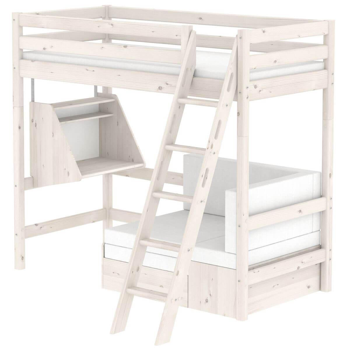 Hochbett mit integriertem Sofabett 90x190cm-Hängeschreibtisch-Schrägleiter (ohne Matratze) CLASSIC Flexa whitewash