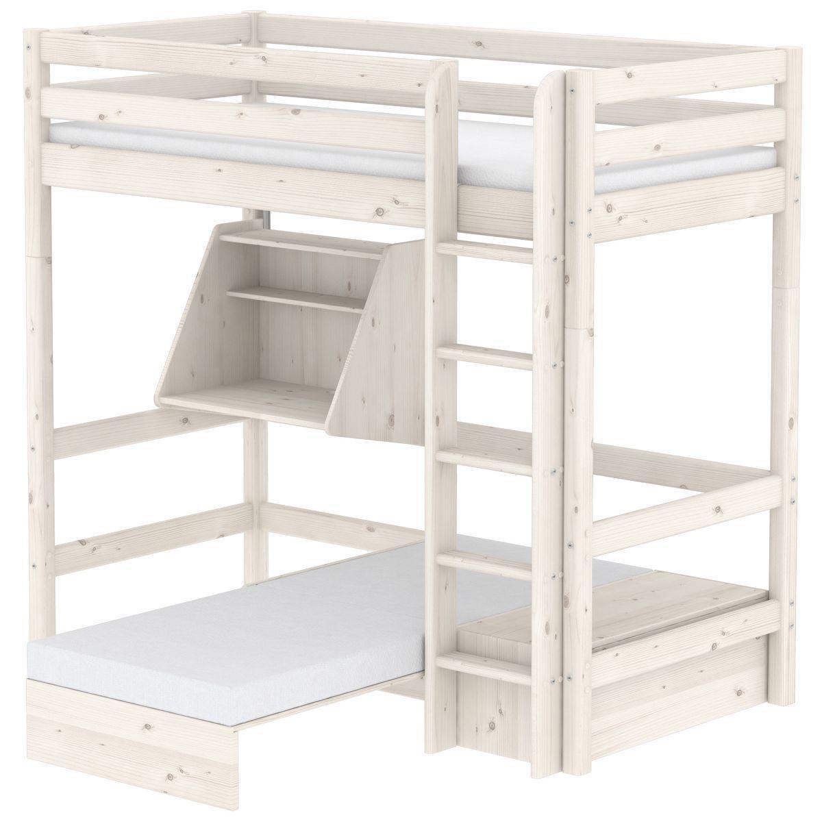 Hochbett mit integriertem Sofabett 90x200cm-Hängeschreibtisch-gerader Leiter (ohne Matratze) CLASSIC Flexa whitewash