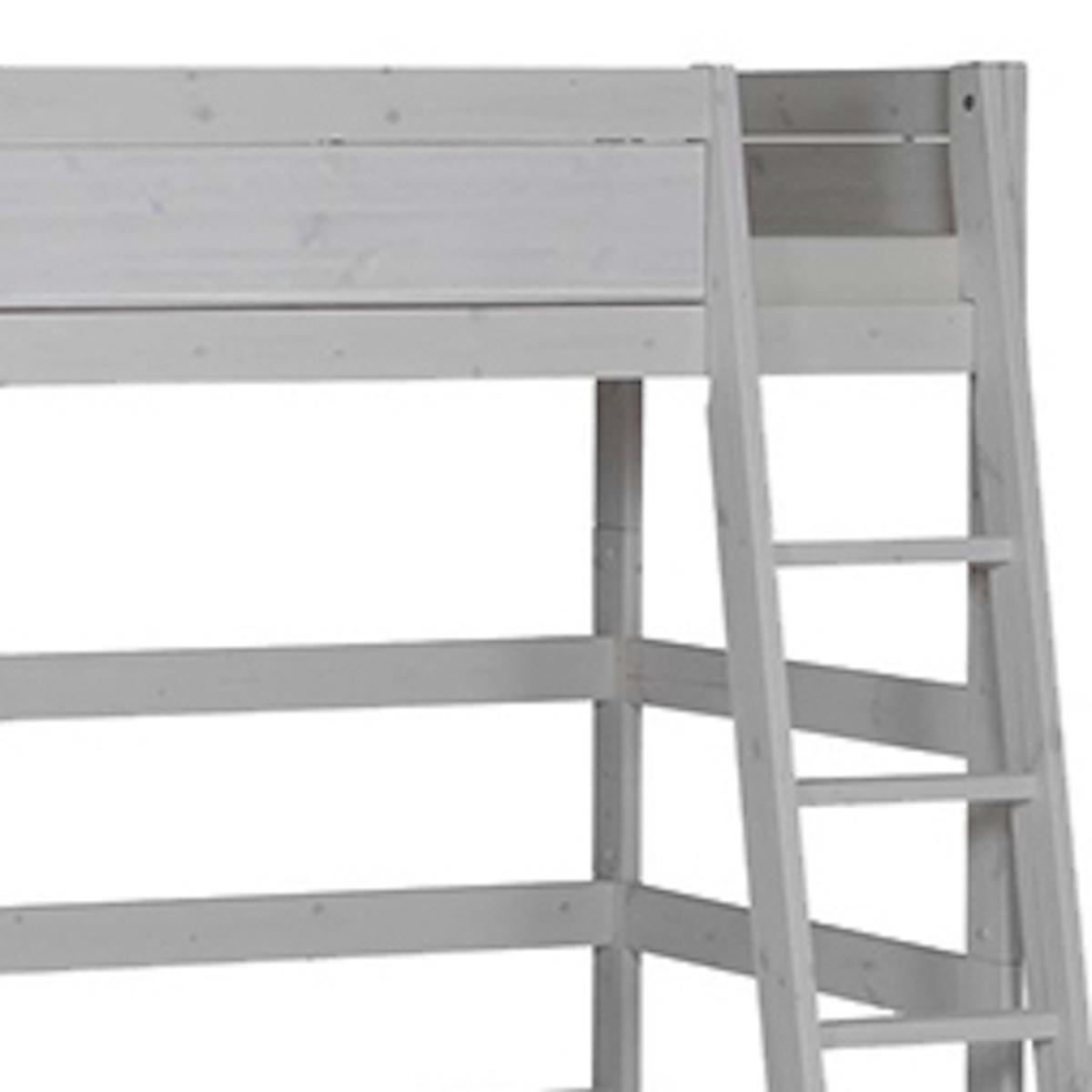 Hochbett mit Schrägleiter + Rollboden 90x200cm Lifetime grau