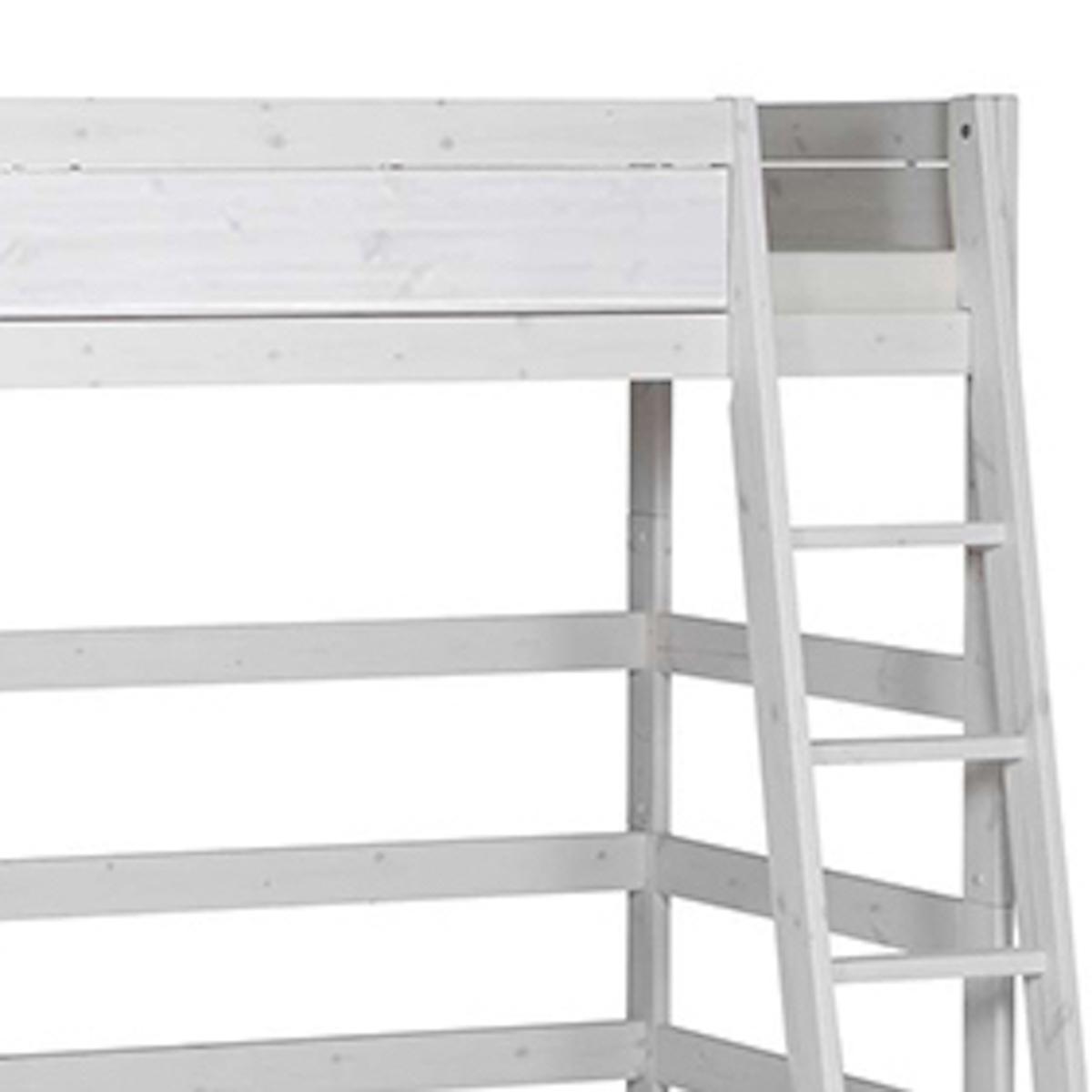 Hochbett mit Schrägleiter + Rollboden 90x200cm Lifetime whitewash