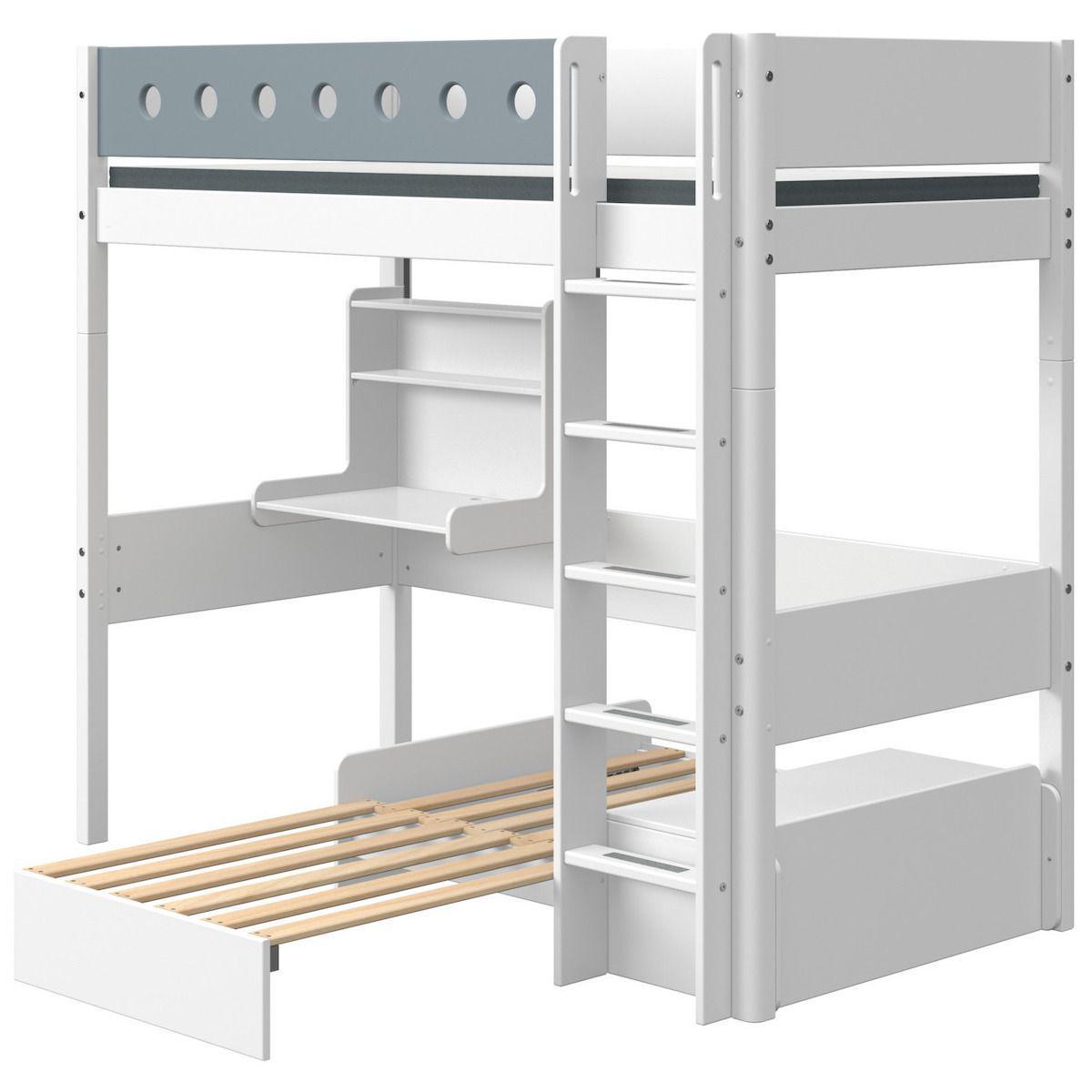 Hochbett mitwachsend 90x190cm gerade Leiter Schlafmoduk-Schreibtisch CLICK-ON WHITE Flexa weiß-light blue