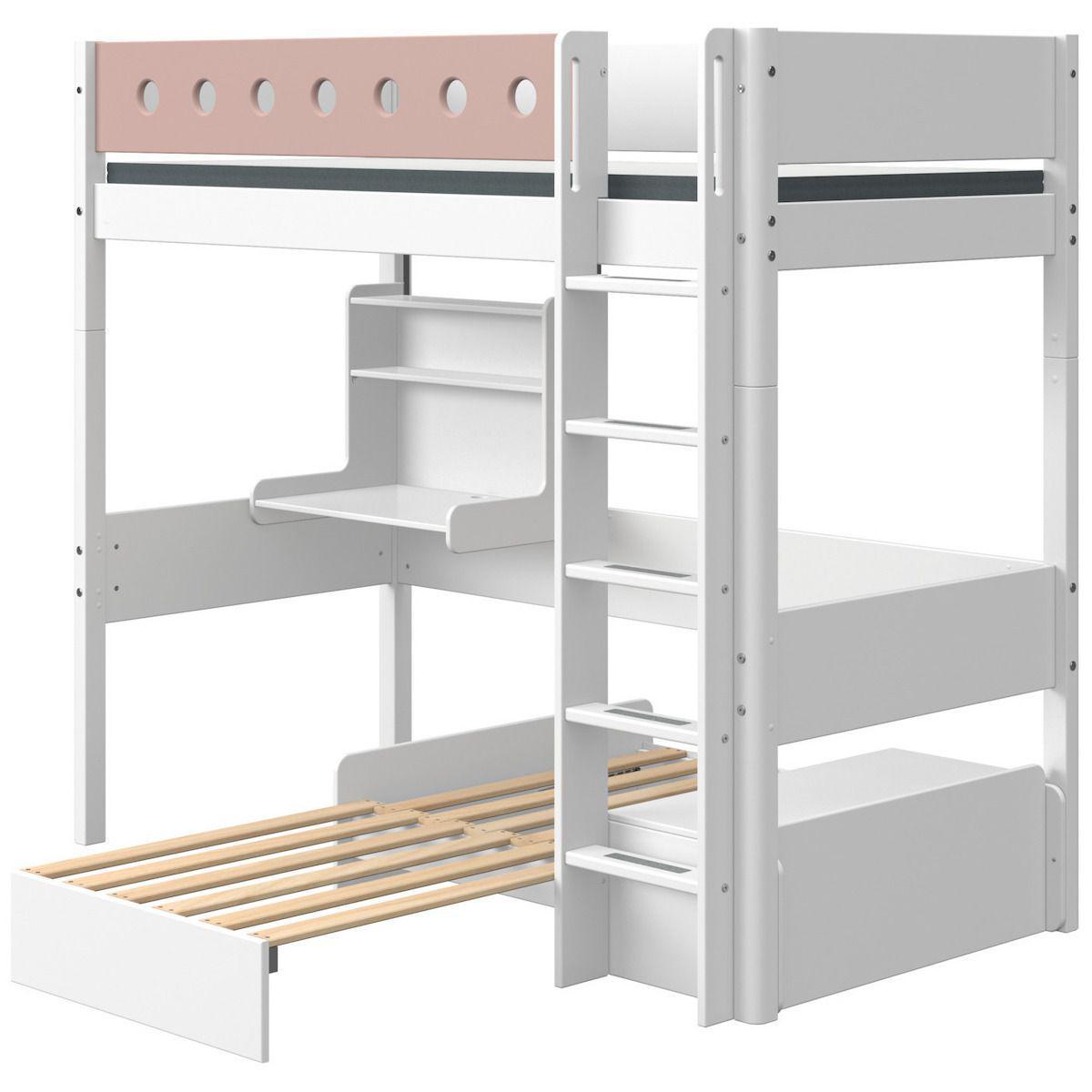 Hochbett mitwachsend 90x190cm gerade Leiter Schlafmoduk-Schreibtisch CLICK-ON WHITE Flexa weiß-light rose