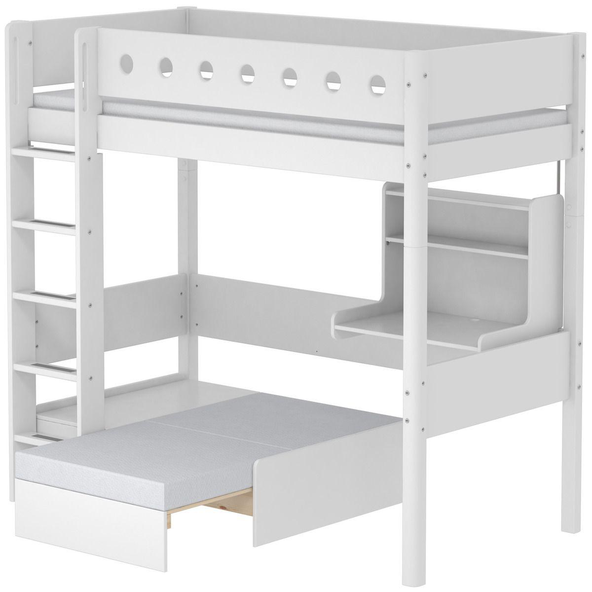 Hochbett mitwachsend 90x190cm WHITE Flexa Bettschutzgitter weiß-Bettfüße weiß-Schlafmodul-Schreibtisch CLICK-ON