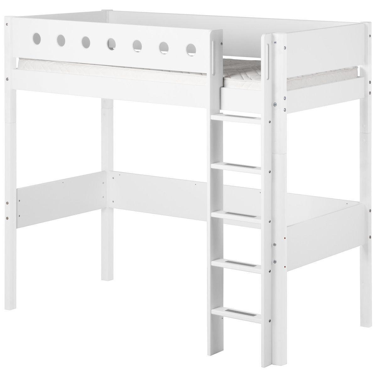 Hochbett mitwachsend 90x190cm WHITE Flexa Bettschutzgitter weiß-Bettfüße weiß