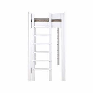 Hochbett mitwachsend 90x200cm 5 in 1 Leiter seitlich DESTYLE Debreuyn Buche massiv weiß gebeizt-lackiert