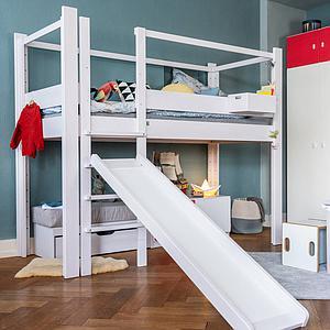 Hochbett mitwachsend 90x200cm 5 in 1 Leiter vorne DESTYLE Debreuyn Buche massiv weiß gebeizt-lackiert