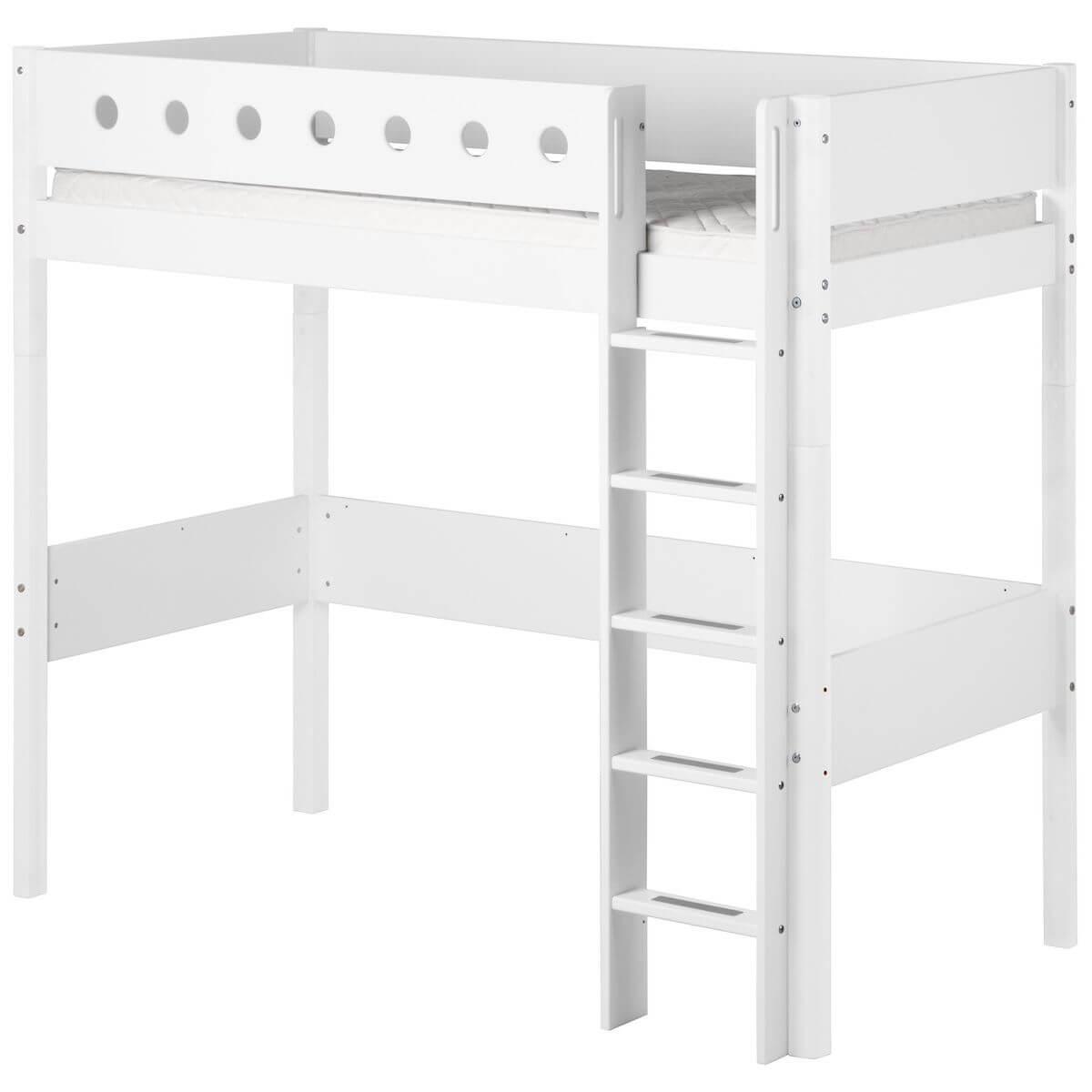 Hochbett mitwachsend 90x200cm WHITE Flexa Bettschutzgitter weiß-Bettfüße weiß