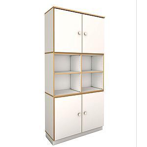 hoher breiter Schrank mit 4 Türen DECOR Debreuyn - Melamin weiß mit Buchenkante