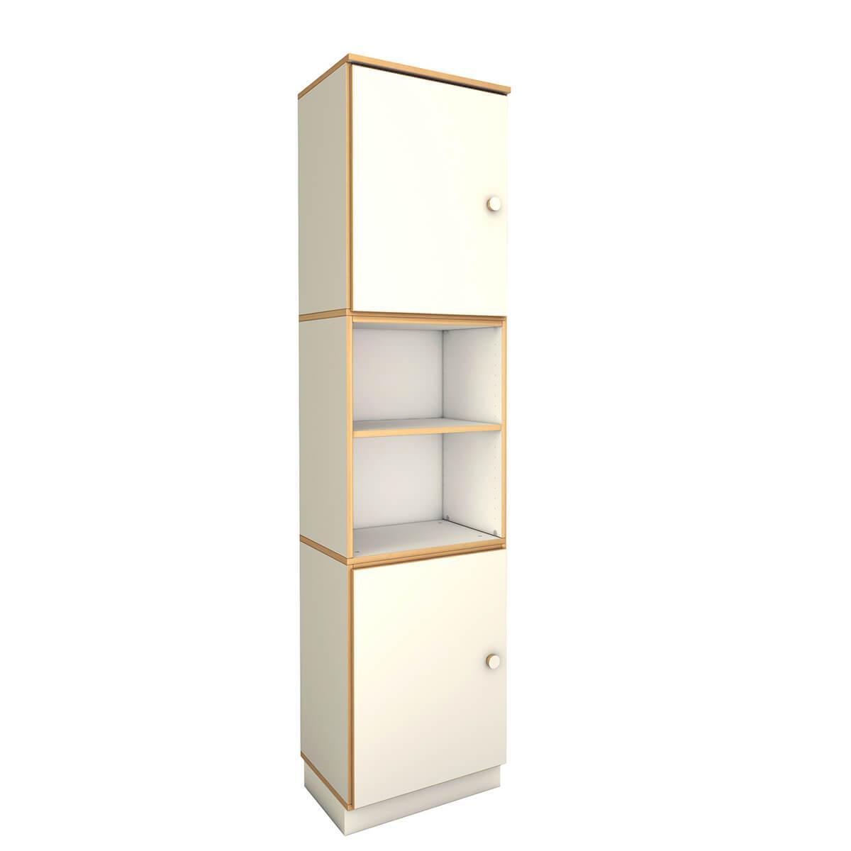 hoher schmaler Schrank mit 2 Türen DECOR Debreuyn - Melamin weiß mit Buchenkante