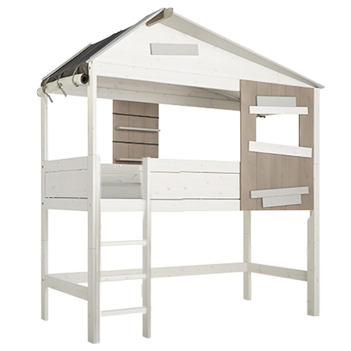 Hüttenbett halbhoch 90x200cm Leiter THE HIDEOUT Lifetime white wash