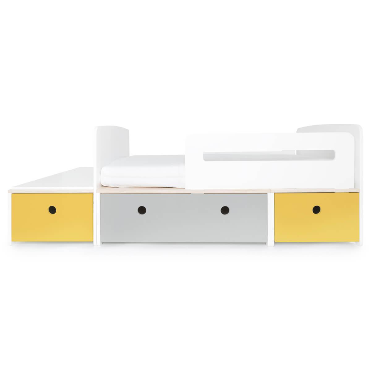 Juniorbett mitwachsend 90x150/200cm COLORFLEX Abitare Kids nectar yellow-pearl grey-nectar yellow