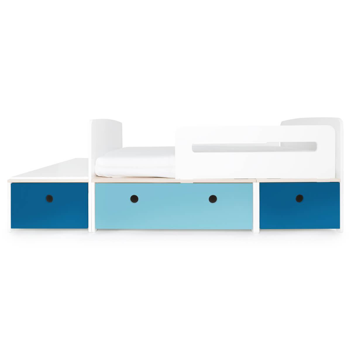Juniorbett mitwachsend 90x150/200cm COLORFLEX deep marine-paradise blue-deep marine